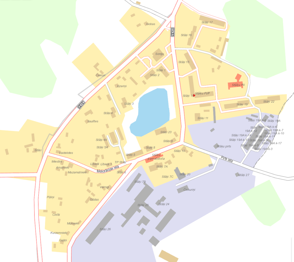 Stāķu ciema karte
