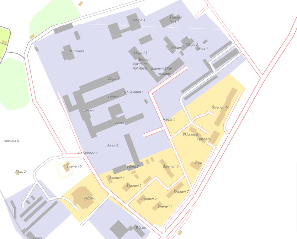 Šķieneru ciema karte